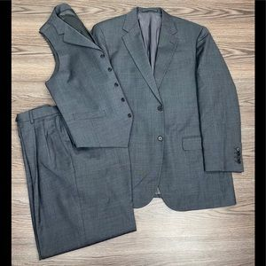 Bespoke Charcoal Check 3-Piece Suit 40R